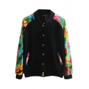 Stand Collar Single-Breasted Floral Print Raglan Sleeve Jacket