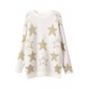 Stars Jacquard Round Neck Long Sleeve Tunic Sweater
