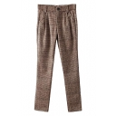 Brown Plaid Pattern Straight Leg Wool Pants