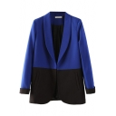 Color Block Open Front Pockets Long Sleeve Laid Back Blazer