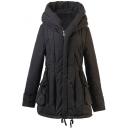 Plain Black Hooded Drawstring Zipper Pockets Seam Pleated Coat
