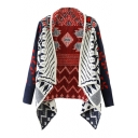 National Style Geometric Print Waterfall Collar Collared Coat Cardigan