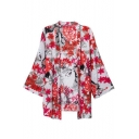 Bright Red Floral Print Collarless Open Front Loose Kimono