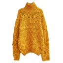 Vintage High Neck Mixed Color Chunky Knitted Loose Sweater