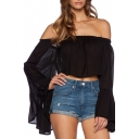 Black Plain Boat Neck Elastic Off Shoulder Bell Sleeve Blouse