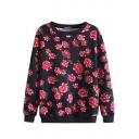 Opulent Red Flower Print Long Sleeve Sweatshirt with Round Neckline