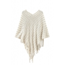 Plain Stripe Knitted Shawl with Fringe Hem