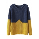 Color Block Long Raglan Sleeve Chunky Knitted Sweater with Round Neckline