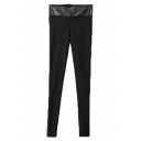 PU Panel High Waist Full Length Pants with Zipper Front