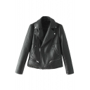 Plain Zipper Fly Long Sleeve PU Biker Jacket with Notched Lapel and Zipper Embellished