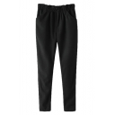 Black Elastic Waist Pockets Woolen Harem Pants