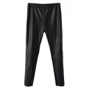 Black Fitted Zipper Fly PU Pants with Extra Inside