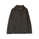 Plain Hooded Long Sleeve Zip Pocket Coat with Elastic Drawstring Hem