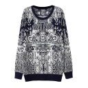 Vintage Totem Mosaic Pattern Laid Back Round Neck Sweater