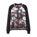 Black Floral Print Back and Front Raglan Plain Sleeve Zippered Coat