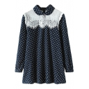 Polka Dot Peter Pan Collar Lace Insert Long Sleeve Loose Dress