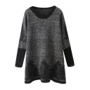 Gray Knitted Round Neck Long Sleeve Lace Panel Hem Mini Dress