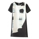 Mono Abstract Color Block Round Neck Short Sleeve Dress with Zip Back