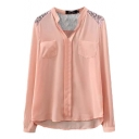 Plain Lace Panel Stand Collar Long Sleeve Chiffon Blouse