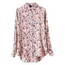Apricot Background Floral Print High-low Midi Long Sleeve Shirt
