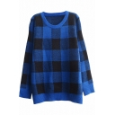 Loose Plaid Print Round Neck Long Sleeve Sweater