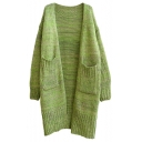 Chunky Knitted Plain Long Sleeve Longline Cardigan with Hugh Pockets Embellished