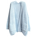 3D Twist Cable Knitting Plain Open-Front Midi Cardigan with Double Pockets