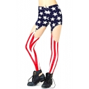 The Stars and Stripes Print Stretch Full Length Leggings with Knee Cutout