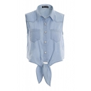 Blue Plain Lapel Sleeveless Button Front Bow Waist Denim Cropped Blouse