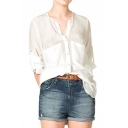 Plain V-Neck 1/2 Sleeve Loose Shirt with Double Pocket Front