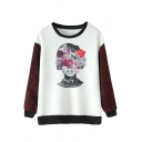 Character Floral Print Round Neck Knit Sleeve Sweatshirt