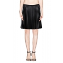 Plain High Waist Leather Pleated Short Skirt with Side Zipper
