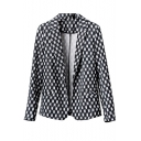 Mono Weave Style Print Slim Blazer with Notched Lapel