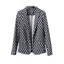 Mono Weave Style Print Slim Blazer with Notched Lapel