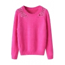 Plain Crochet Insert Long Sleeve Raglan Sleeve Sweater