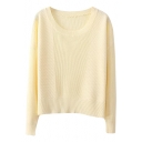 Plain Fitted Round Neck Long Sleeve Cropped Sweater