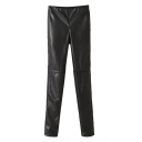 Plain Knee Seam Chamois Leather Skinny Pants with Hidden Elastic Waist