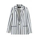 Stripe Print Lapel Collar Single-Button Pockets Fitted Blazer