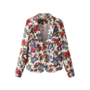 Rose Print Notched Lapel Blazer with Single Button