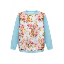 Floral Plants Print Insert Round Neck Long Sleeve Sweater