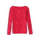 Plain Jacquard Long Sleeve Cutout Sweater with Round Neck