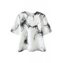 Black Marble Grain Print Round Neck Zippered Short Sleeve T-Shirt