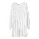 Lace Round Neck Long Sleeve Loose Dress with Ruched Hem