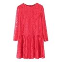 Illusion Style Plain Lace Back Zip Dress with Draped Hem