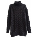 Plain Fitted Cable Knit High Neck Long Sleeve Sweater