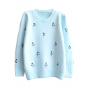 Preppy Look Sweat Snowman Jacquard Round Neck Long Sleeve Sweater