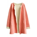 Contrast Cuff Plain Midi Rabbit Hair Open-front Cardigan