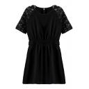 Black Plain Crochet Lace Panel Raglan Short Sleeve Gathered Waist Dress
