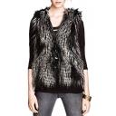 Faux Fur Silk Inside Hidden Button V-Neck Vest