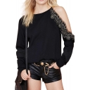 Sexy Embroidered Flower One Shoulder Long Sleeve Sweatshirt